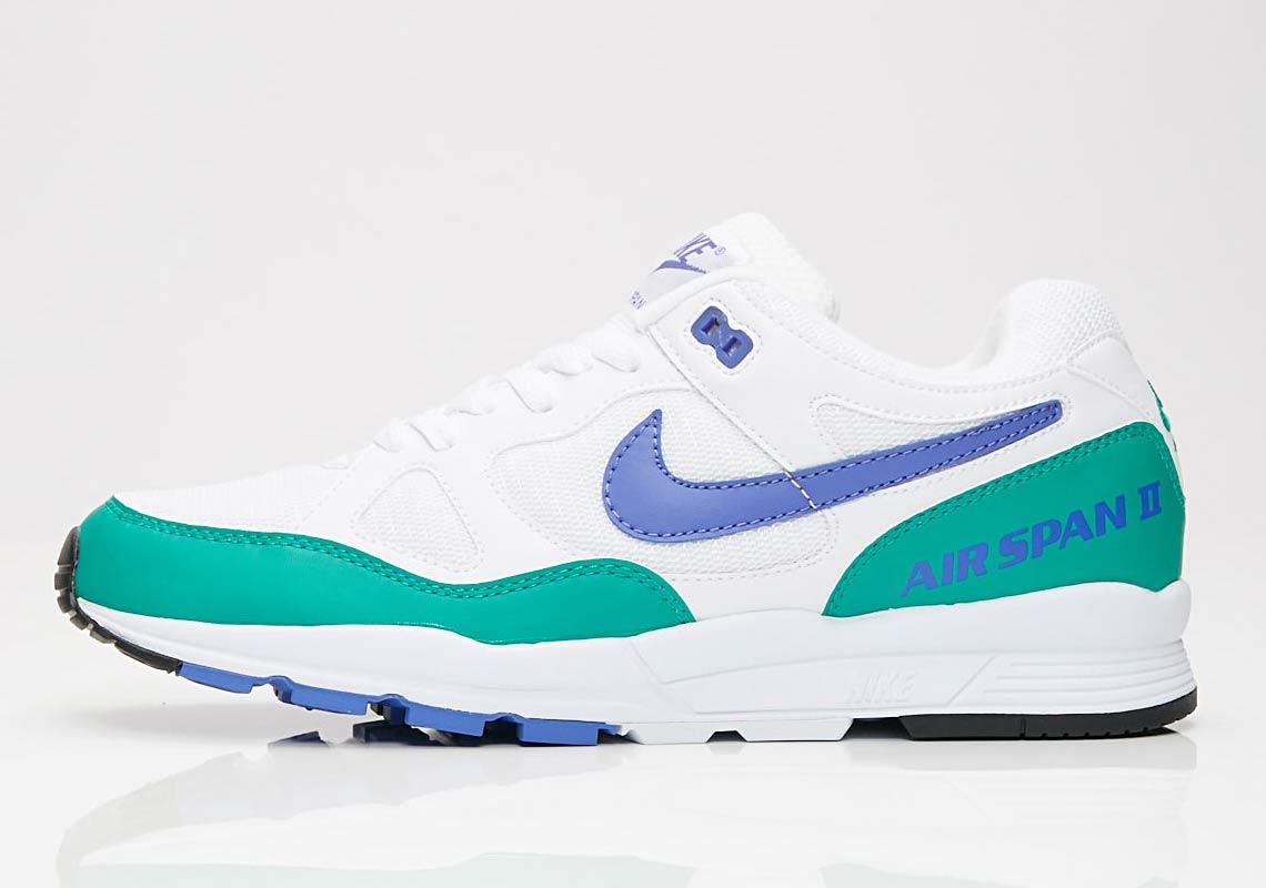Nike Air Span II AVAILABLE AT SNS 100. Color VioletNeptune Green
