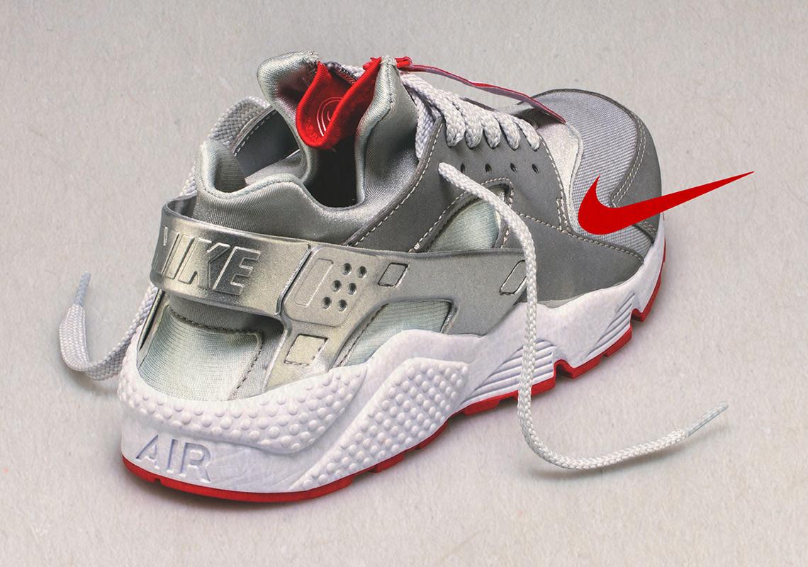 db11a444b0025 Shoe Palace Nike Air Huarache Zip Silver Red Release Info