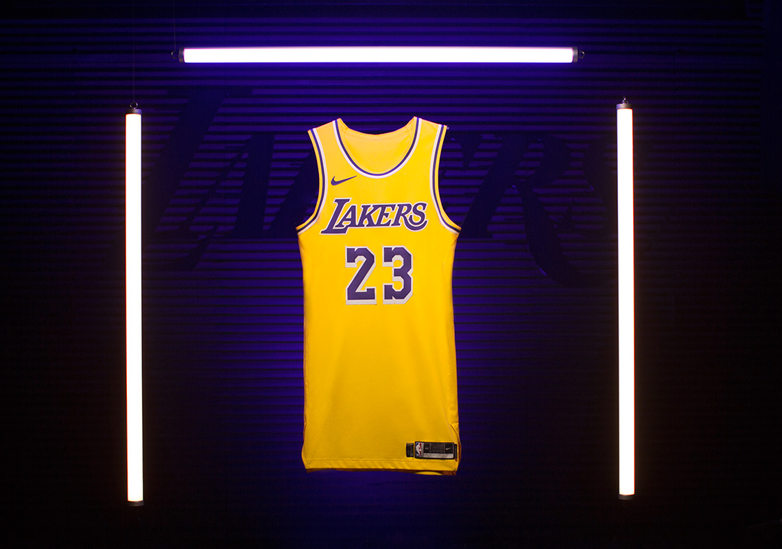 f72f50215 Nike Unveils Showtime Lakers Jersey With LeBron James  Number