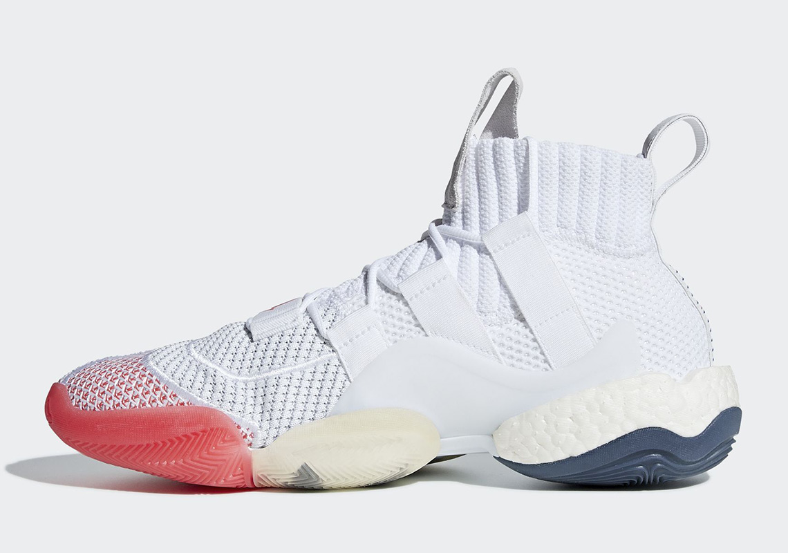 adidas Crazy BYW Release Date: August 11th, 2018. COMING SOON TO adidas  $200. Color: Cloud White/Collegiate Navy/Bright Red Style Code: B42246