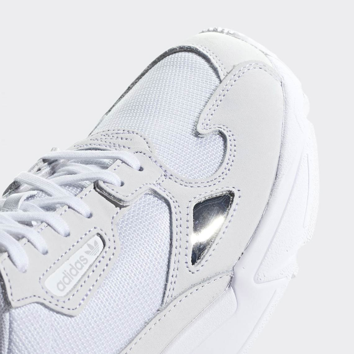 detailed look e5515 8351d adidas Falcon Triple White B28128 Release Info  SneakerNews.