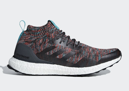 The adidas Ultra Boost Mid To Feature Burgundy And Turquoise Primeknit