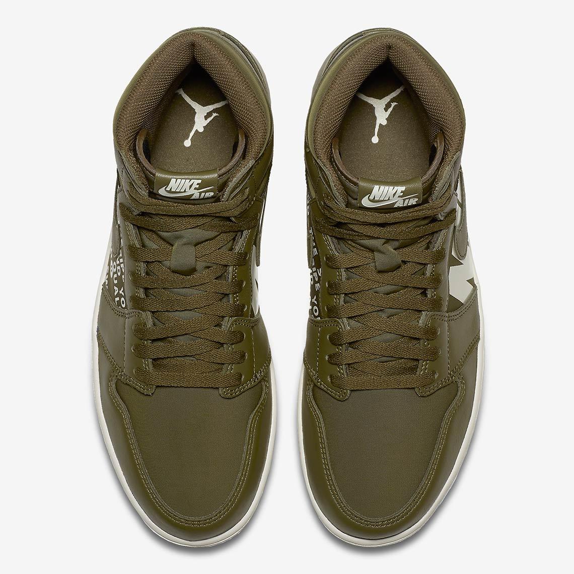 3d8cfdd937 Air Jordan 1 Retro High OG Olive Canvas 555088-300 Release Info ...