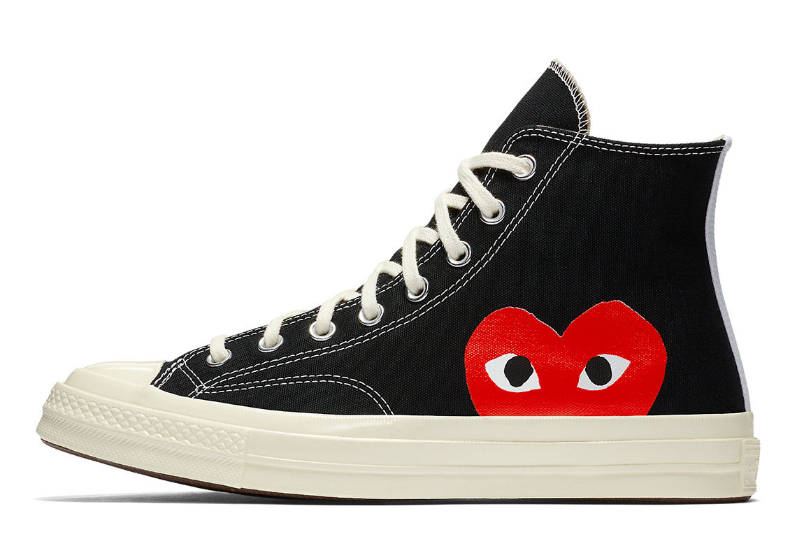 Converse x Comme des GARÇONS Play Chuck 70 High Top AVAILABLE AT Nike  135.  Color  Black White Red eea32900bc33c