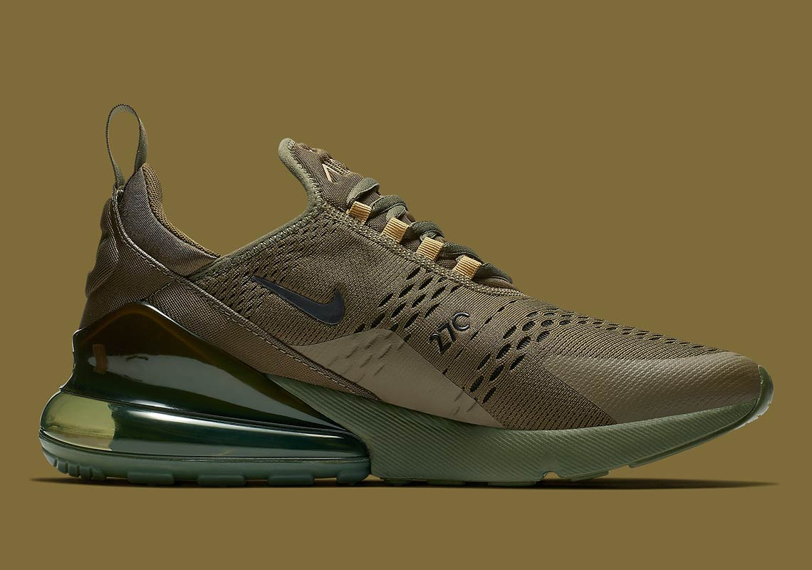 Nike Air Max 270. AVAILABLE AT Nike UK AVAILABLE AT Nike $150. Color: Olive Canvas/Olive Canvas/Golden Moss-Black