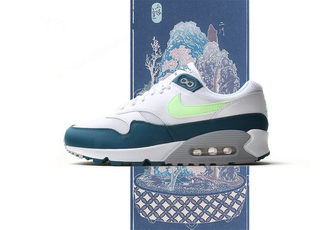 6fb6ade856a0 Nike Air Max 90 1  140. Color  White Geo Teal-Lime Blast-Wolf Grey