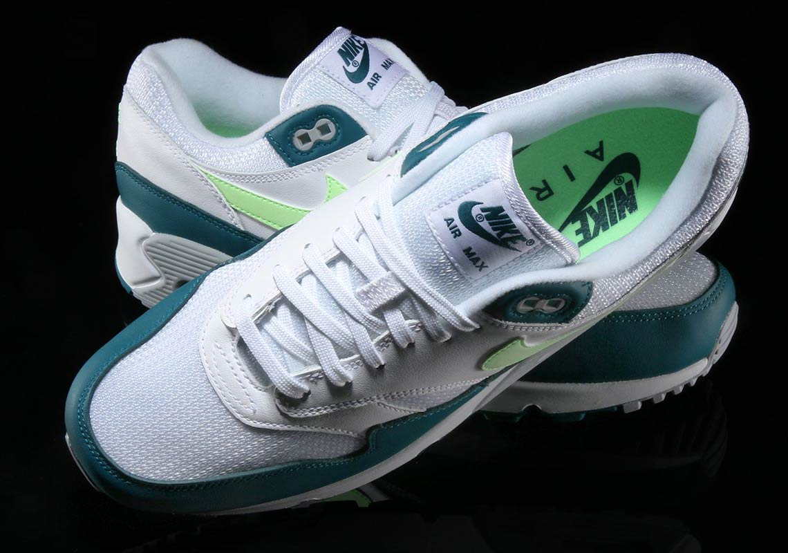 4e08f81804e0 Nike Air Max 90 1  140. Color  White Geo Teal-Lime Blast-Wolf Grey