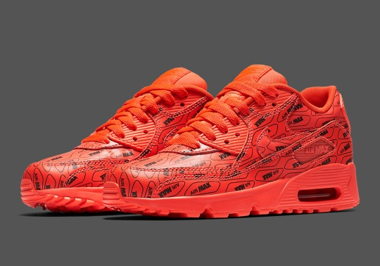 "Nike Air Max 90 ""All Over Logo"" Just Released In Bright Crimson"