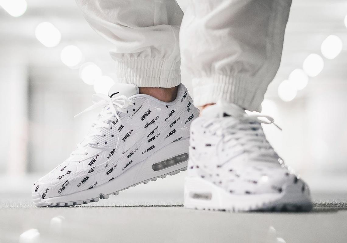 "Nike Air Max 90 Premium ""All Over Logo"" Black Black White"