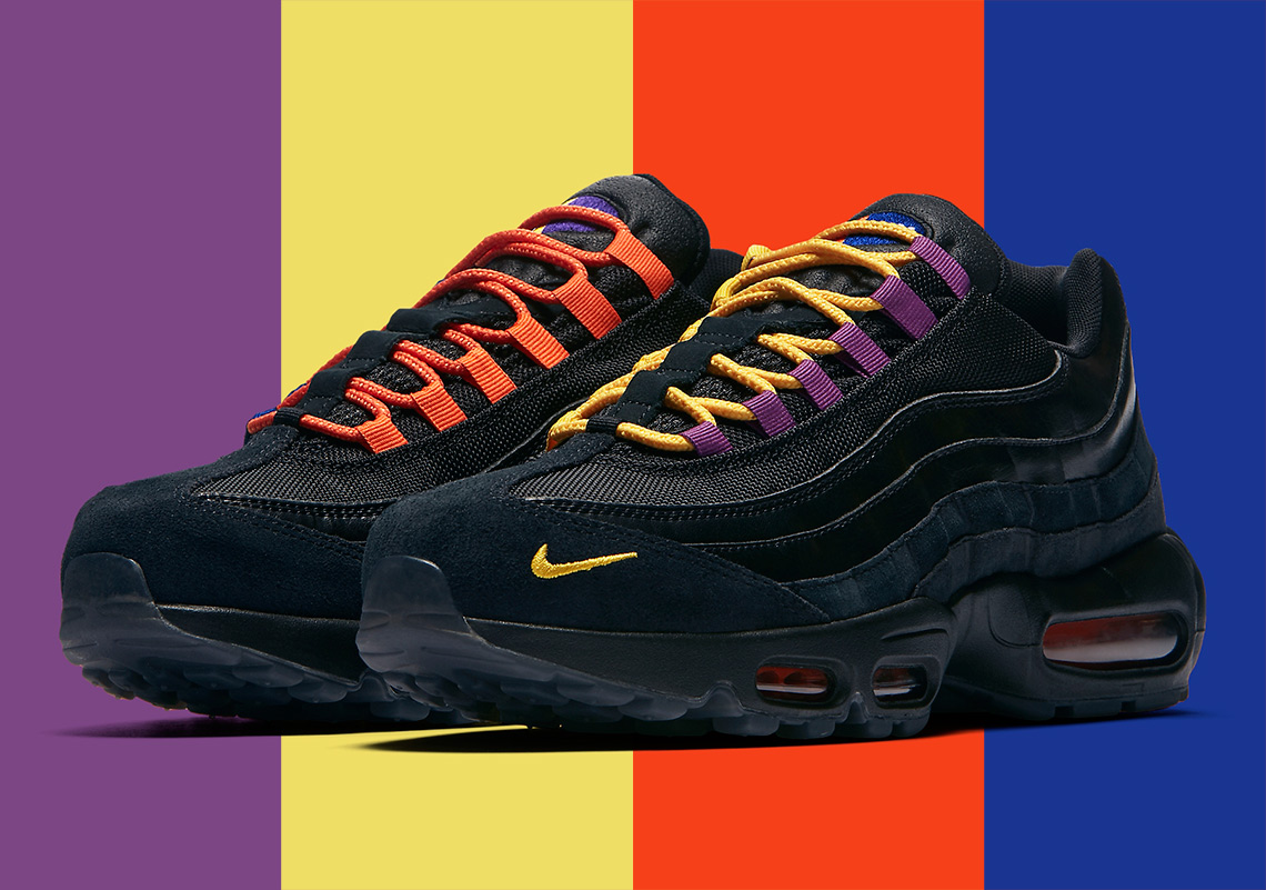blue air max 95 orange laces