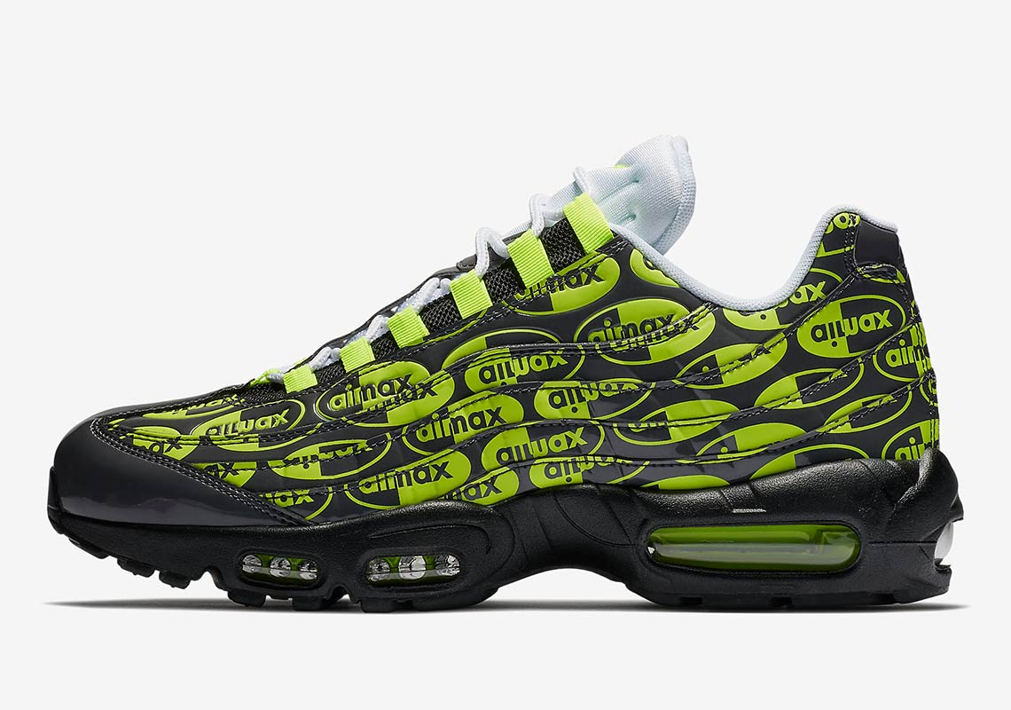 Nike Air Max 95 All Over Print Volt + Black + White  b327115da