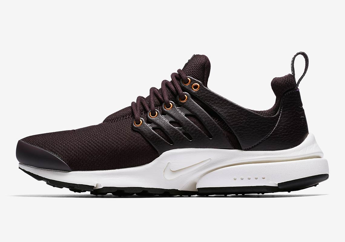 best sneakers 3a968 7cd21 Nike Air Presto Premium AVAILABLE AT Nike  140. Color  Burgundy  Ash Sail Metallic Bronze Burgundy Ash