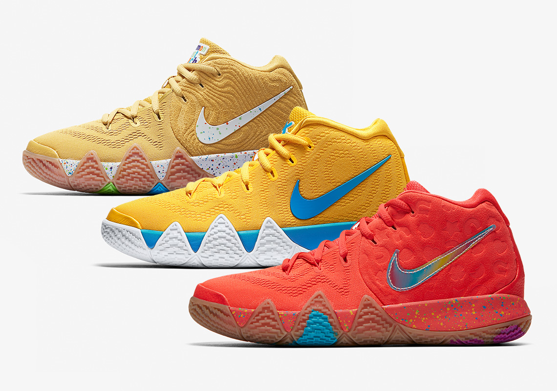 "846a3377b30 The Nike Kyrie 4 ""Cereal Pack"" For Big Kids Launches This Week On Nike SNKRS"