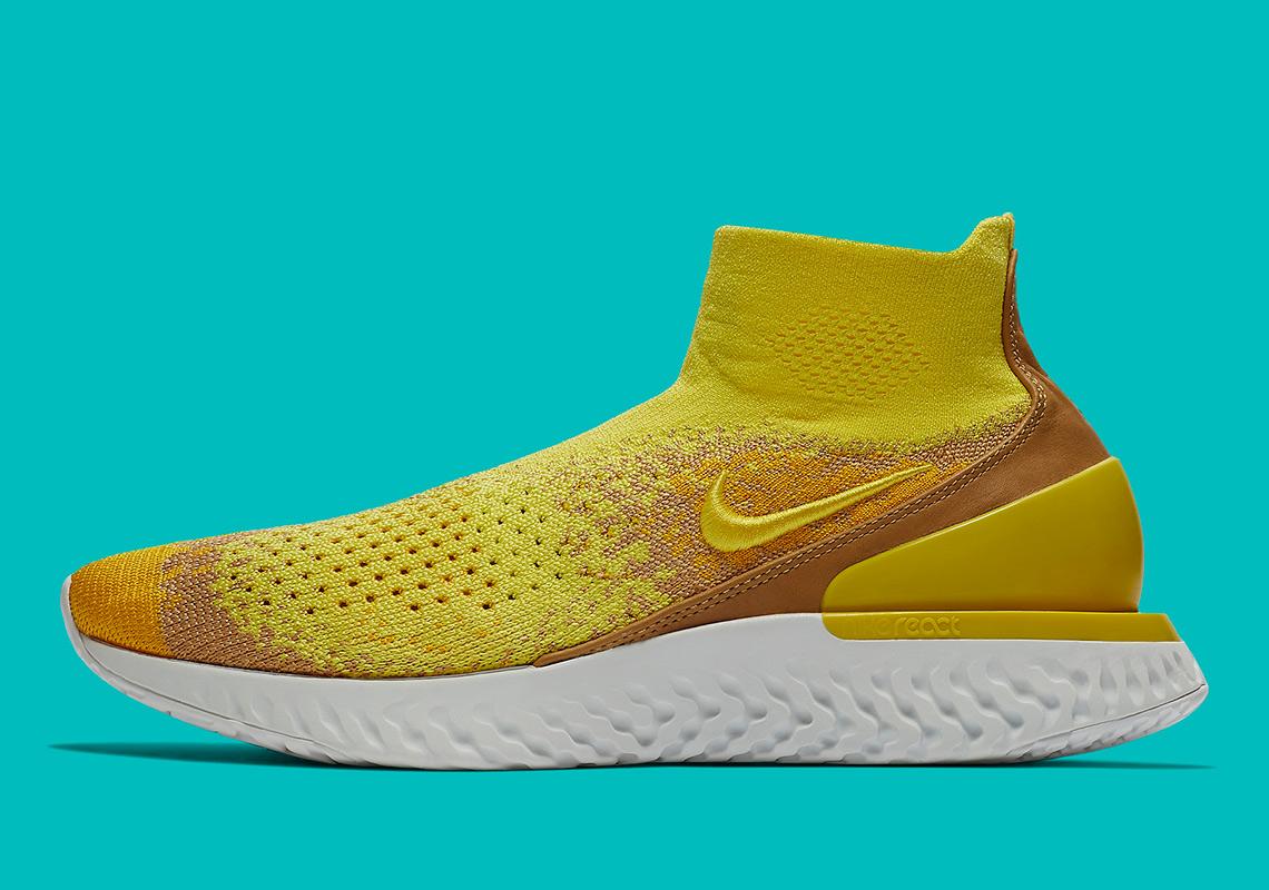 Nike Rise React Flyknit Color  Sonic Yellow Amarillo Club Gold Dark Stucco  Style Code  BQ6176-707 42f1151dc
