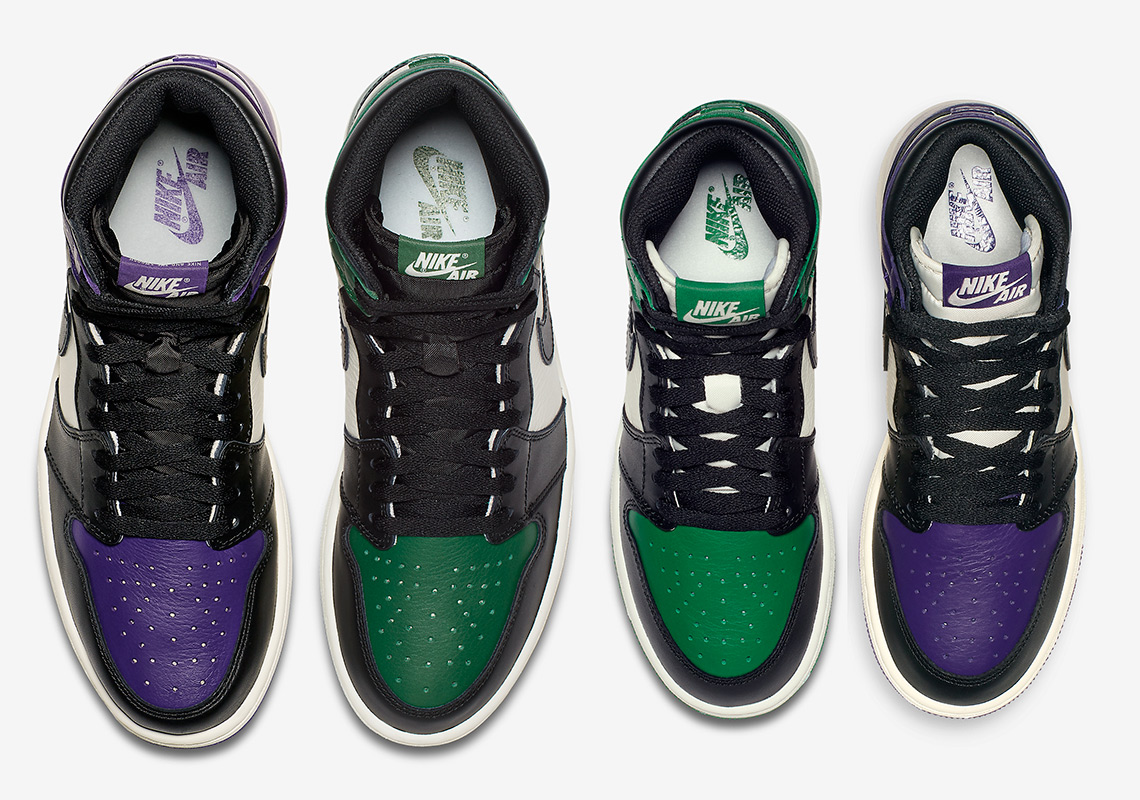 "cbe37543e04242 Expect White Tongues On The Air Jordan 1 ""Court Purple"" And ""Pine Green""  For Kids"