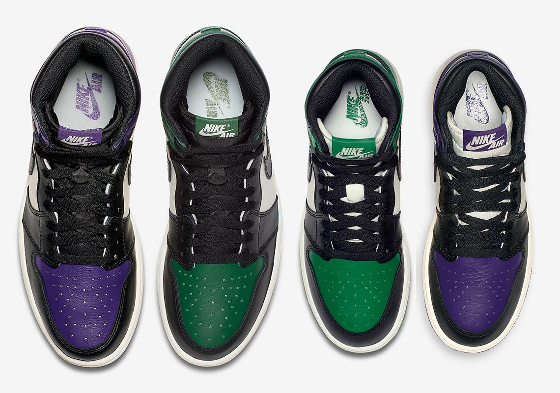 a73abe1e401cae Air Jordan 1 Court Purple + Pine Green - Grade School Kids Sizes ...
