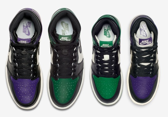"Expect White Tongues On The Air Jordan 1 ""Court Purple"" And ""Pine Green"" For Kids"