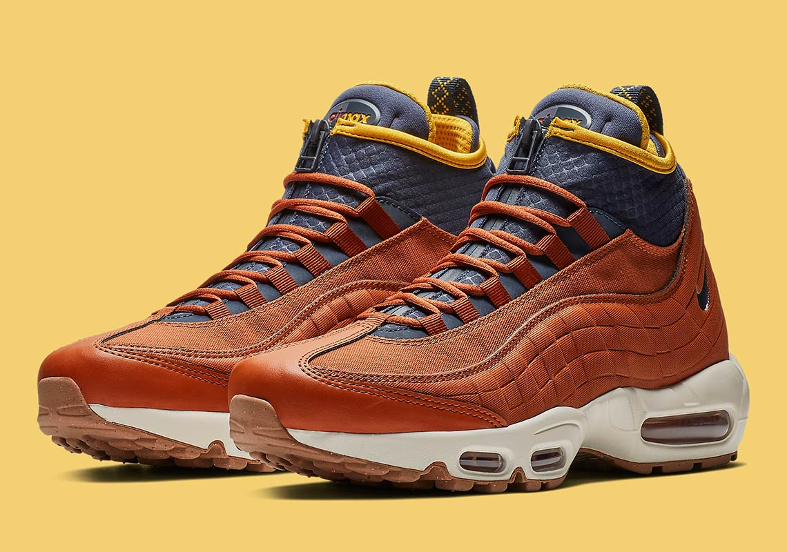2bf4190506ee Nike Air Max 95 Sneakerboot AVAILABLE AT Finish Line  200. Color  Dark  Russet Thunder Blue Light Bone Yellow Style Code  806809-204