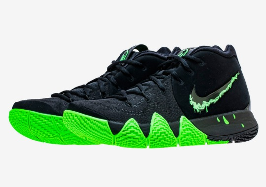 "The Nike Kyrie 4 ""Halloween"" Features A Swoosh Dipped In Slime"