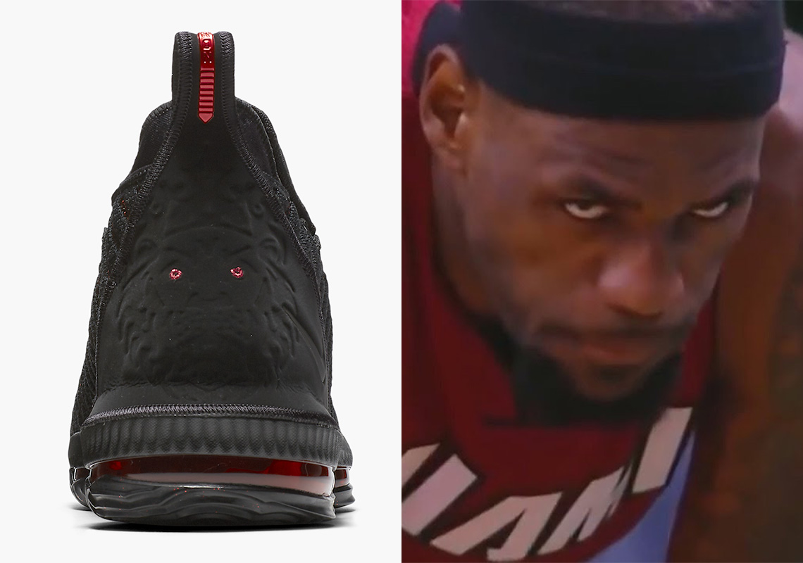 "7e9e749fff3311 The Red Eyes On The Nike LeBron 16 ""Fresh Bred"" Inspired By LeBron s  Sinister Staredown"