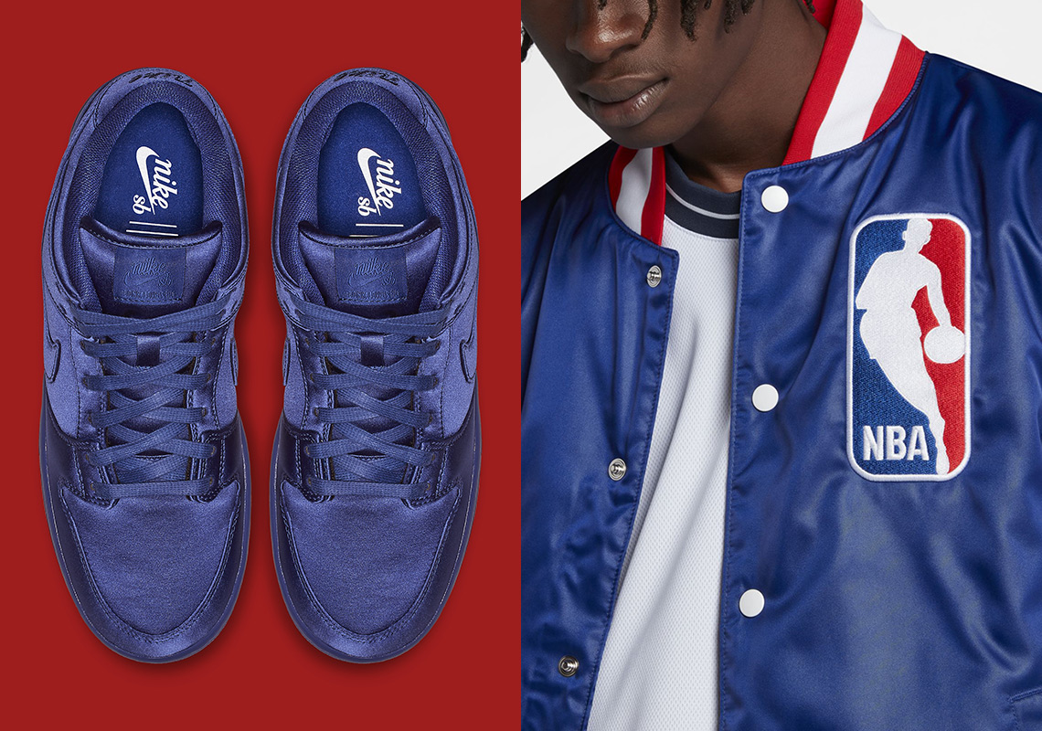 Nike Sb Dunk Low Nba Satin Jacket Ar1577 446 Sneakernews Com