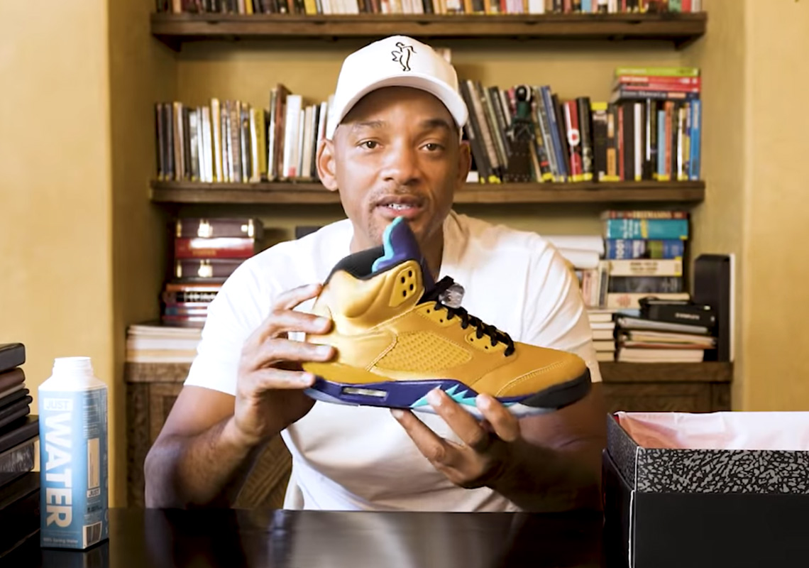 "cf8fffbcd51b Will Smith Unboxes His Upcoming Air Jordan 5 ""Fresh Prince"" With Friends  And Family Edition"