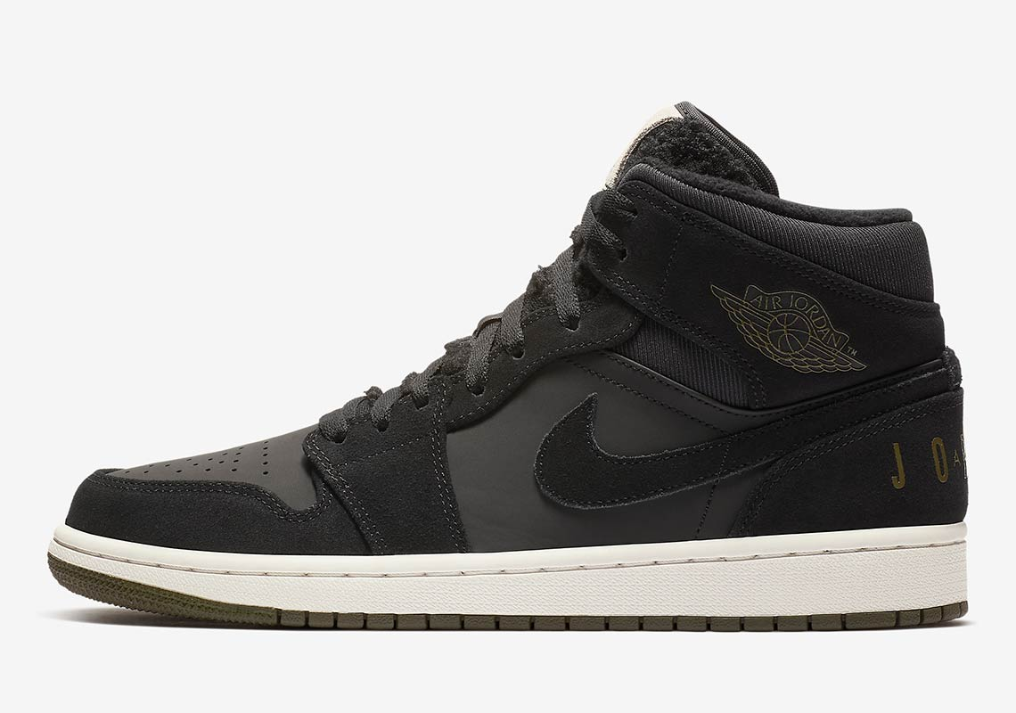 cheap for discount 0746b 9967d Air Jordan 1 Mid Release Date  November 1, 2018  120. Color  Black Olive  Canvas-Sail-Cone