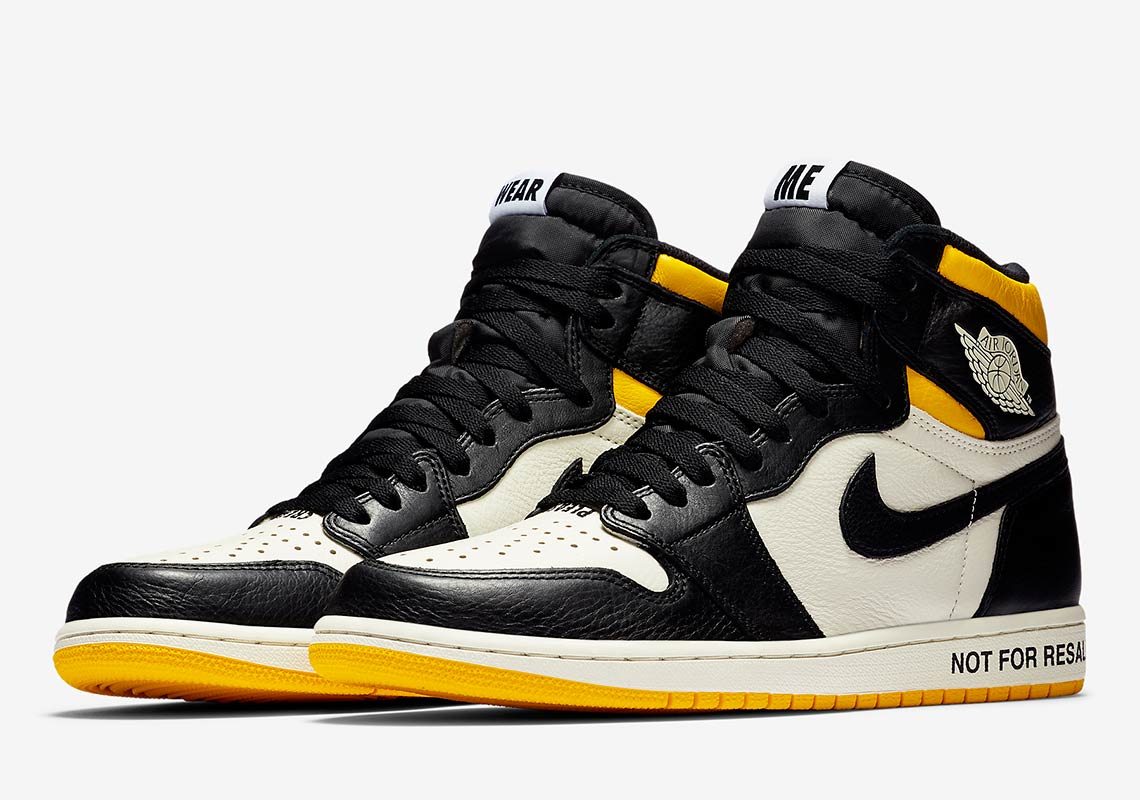 "7bb1e671046 Air Jordan 1 Retro High OG ""Not For Resale"" Release Date: November 14, 2018  $160. Color: Sail/Varsity Maize-Black"