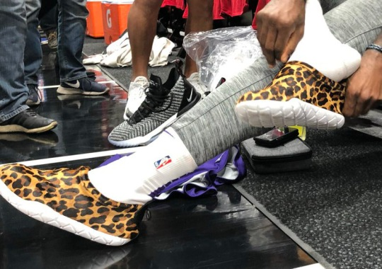 "super popular 0d387 32a94 LeBron James Wears One-Of-One Nike Air Moc ""Cheetah"" Before Season"