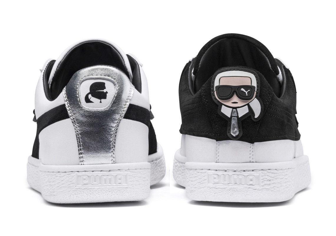 new style 7c39f 0edb9 Karl Lagerfeld s Puma Suede Collaboration Inspired By His Signature  Sunglasses And Suits