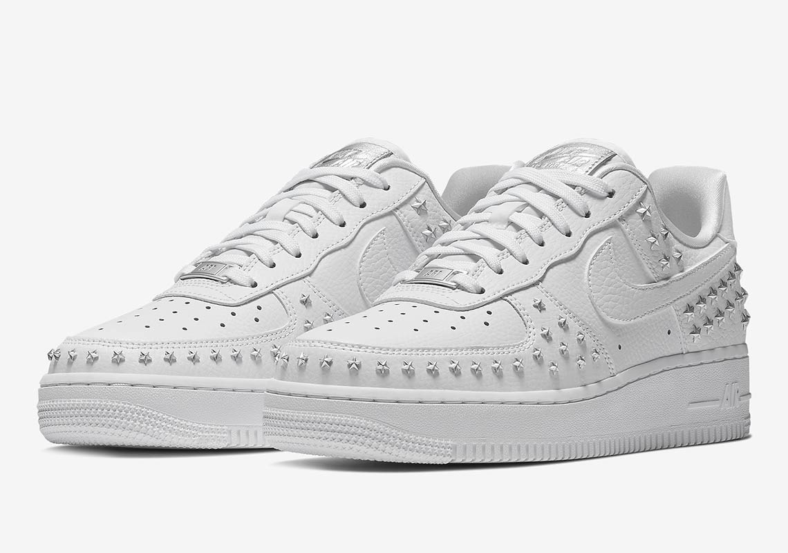 Nike Air Force 1 Low Stars White Sivler AR0639 100 Womens Winter Running Shoes ar0639 100