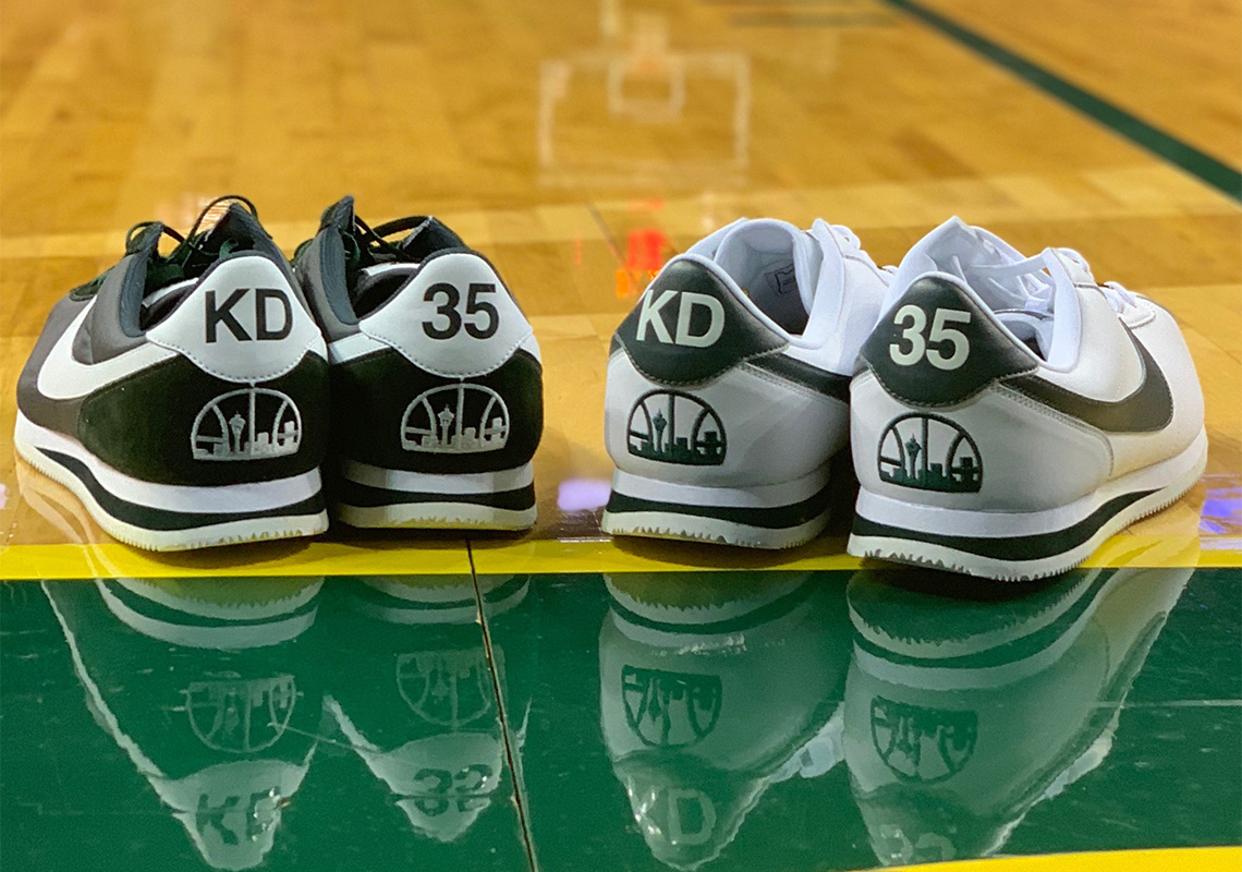 "hot sale online 3b6e9 f7a24 Kevin Durant Wears Nike Cortez ""Seattle Supersonics"" In Return To The City  That Drafted Him"