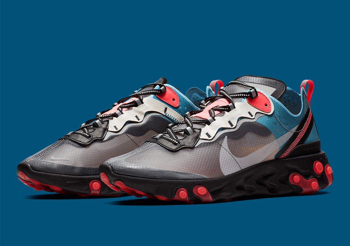 a7f25a75881f Where To Buy Nike React Element 87 Blue Chill Solar Red AQ1090-006 ...