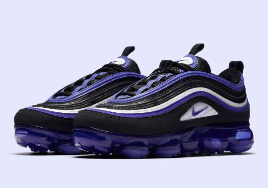 "00db537b7c0 The Nike Vapormax 97 ""Persian Violet"" Is Releasing In Grade School Sizes"