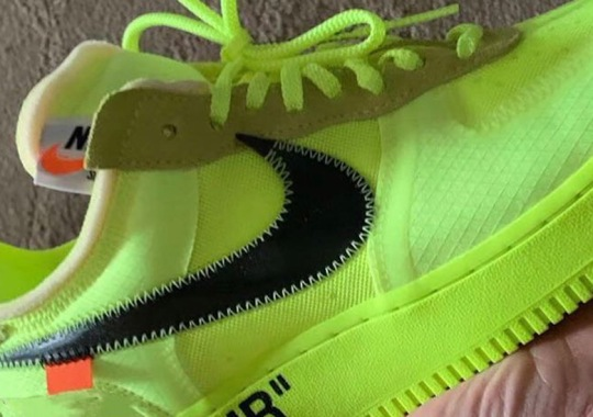 """First Look At The Off-White x Nike Air Force 1 """"Volt"""""""