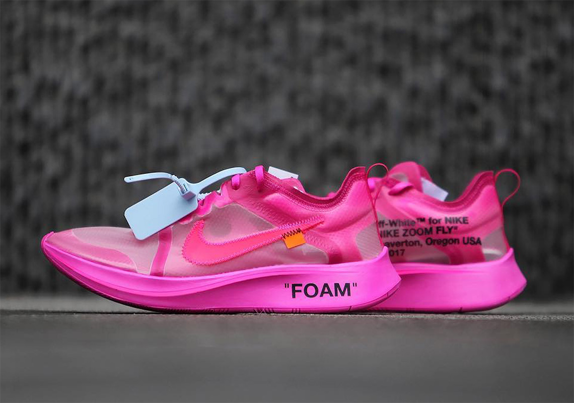 Off,White x Nike Zoom Fly SP Release Date November 28th, 2018 $170. Color Tulip  Pink/Racer Pink