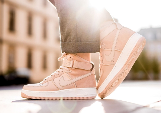 "The Nike Air Force 1 High ""Bio Beige"" For Women Pairs Suede And Leather"
