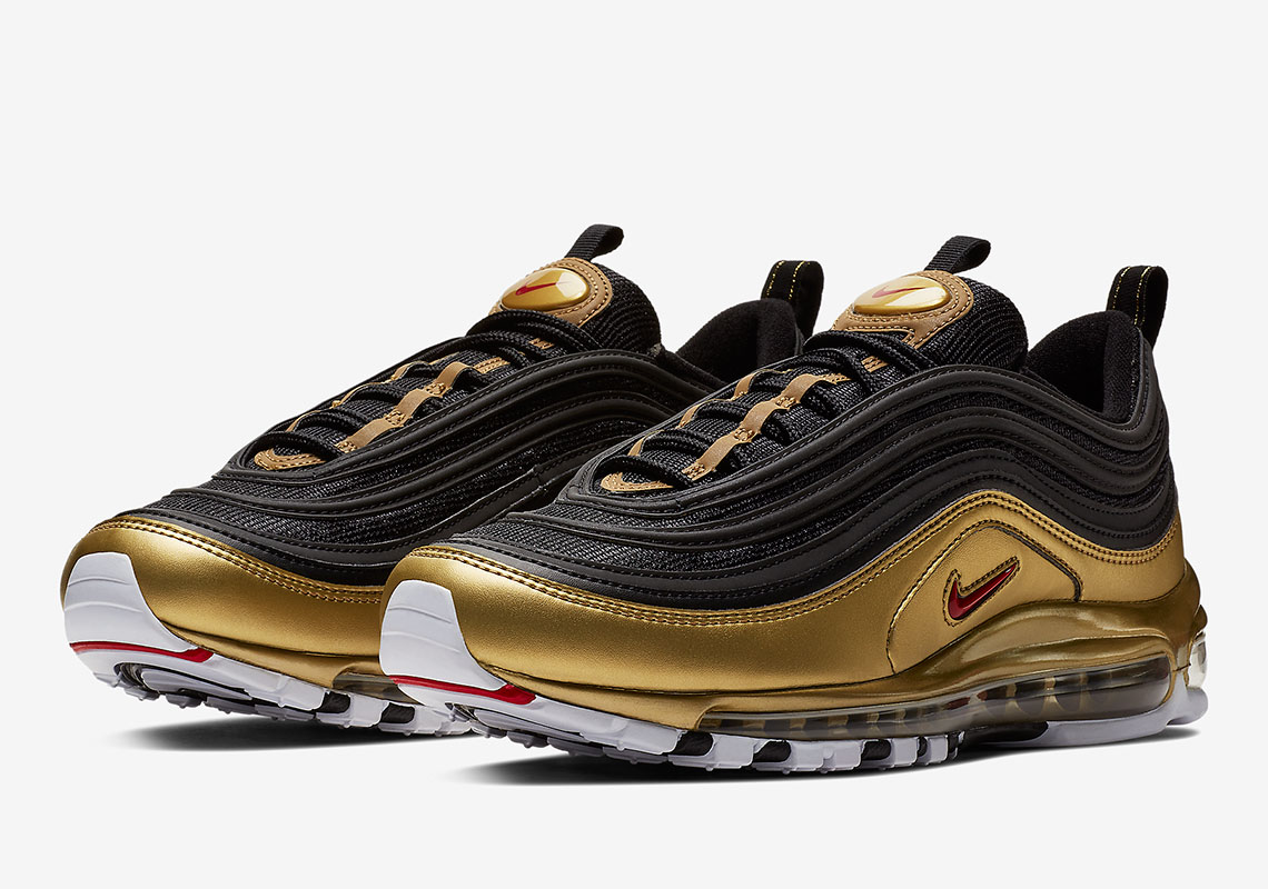 online store d04c4 3e685 Nike Air Max 97 QS Release Date  November 9th, 2018  180. Color  Black Varsity  Red-Metallic Gold-White Style Code  AT5458-002