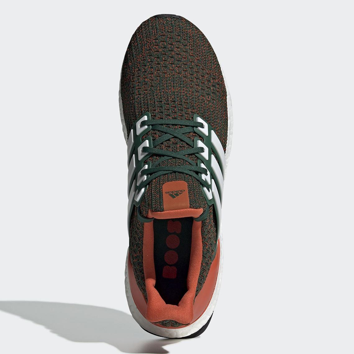 hot sale online d3c4b e6334 adidas Ultra Boost Miami Hurricanes EE3702   SneakerNews.com