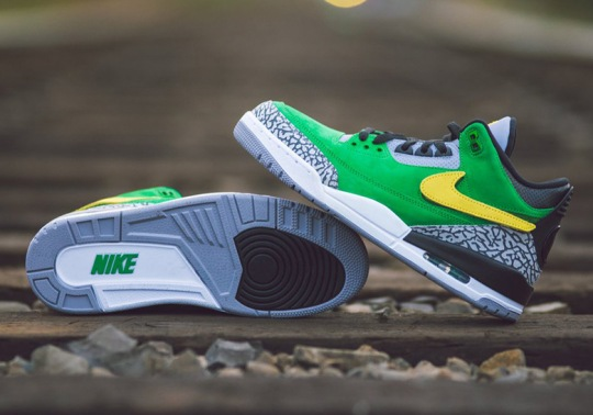"Oregon Ducks Football Get An Air Jordan 3 ""Tinker Hatfield"" PE With Removable Swooshes"