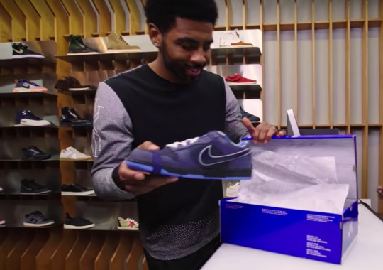 Kyrie Irving Surprised With Blue Lobster Dunks At Concepts