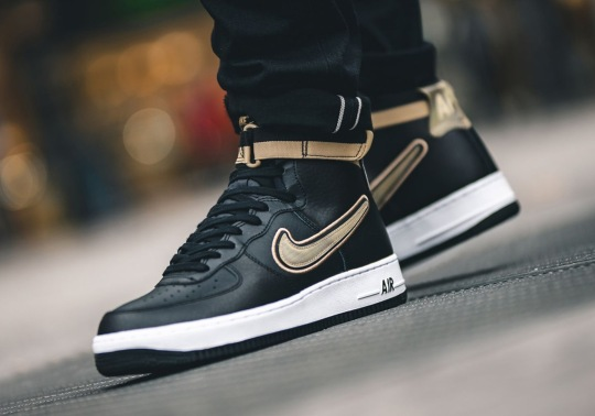 The Nike Air Force 1 High LV8 Arrives In Black And Gold For Raptors' OVO Night