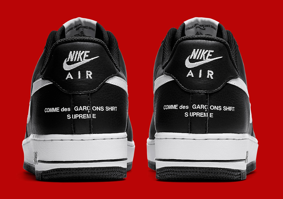 d789fc3f3267 Supreme CDG Nike Air Force 1 Black Split Swoosh AR7623-001 ...