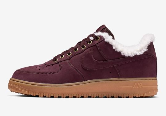 The Sherpa-Lined Nike Air Force 1 Appears In Burgundy Crush