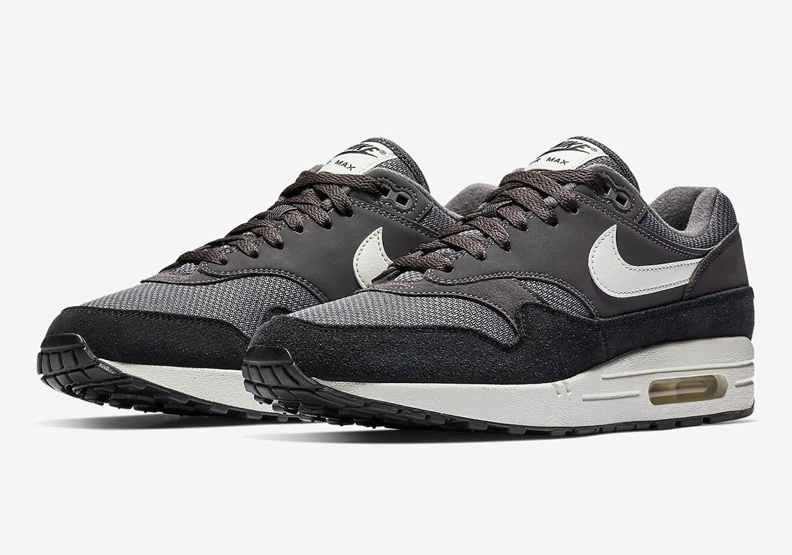 huge discount 0d6db cb7bb The Nike Air Max 1 Appears With Dark Tones In Suede And Mesh