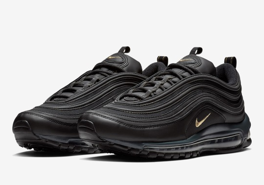 Leather Dresses Up This Black And Gold Nike Air Max 97