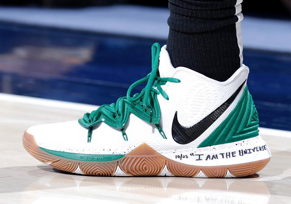 "on sale 9ed1d 203d6 Kyrie Irving Debuts a New Nike Kyrie 5 ""Celtics"" PE"