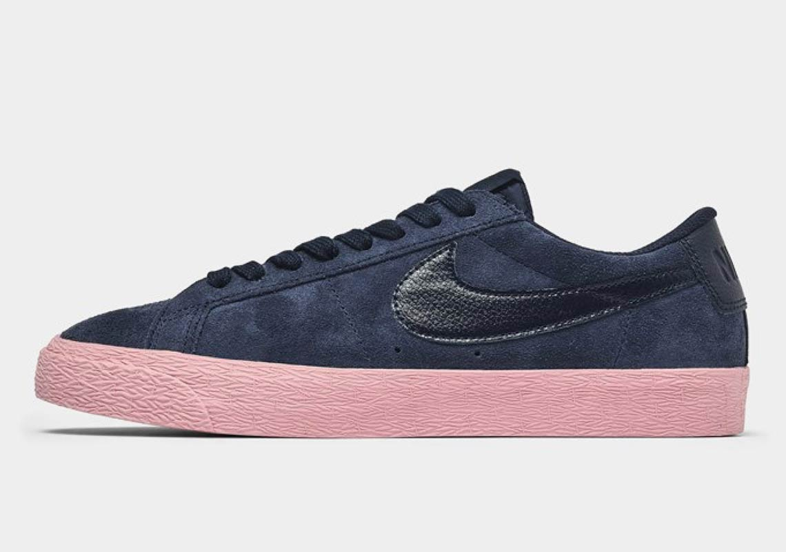 c16d7d6f9ff The Nike SB Blazer Low Arrives In Navy And Pink