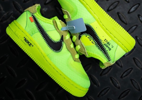 """First Look At The Off-White Nike Air Force 1 """"Volt"""" For Toddlers"""