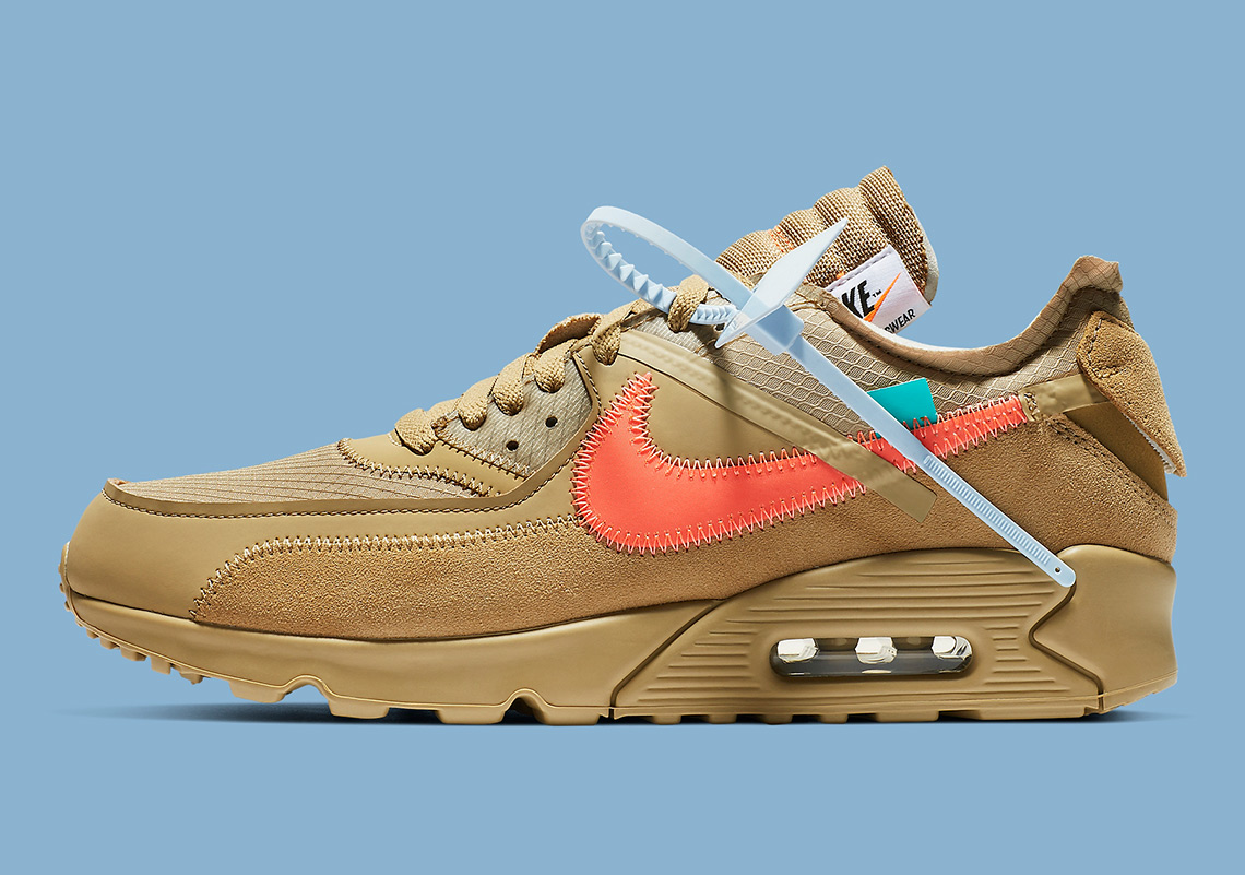 "d0f490037c Closer Look At The Off-White x Nike Air Max 90 ""Desert Ore"""